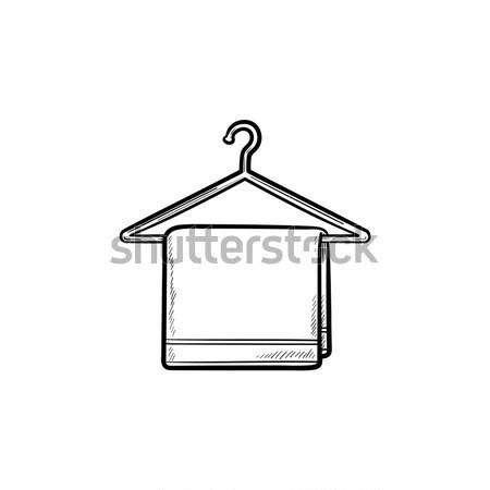 Törölköző vállfa vonal ikon sarkok háló Stock fotó © RAStudio