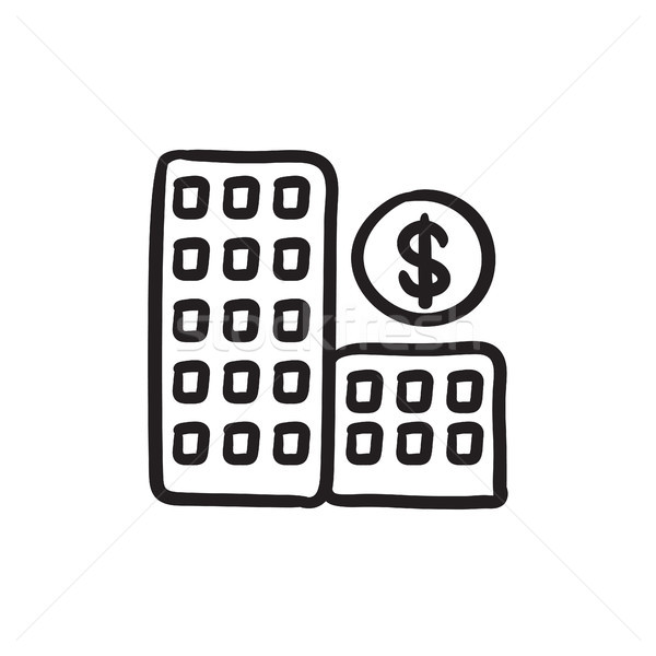 Condominium with dollar symbol sketch icon. Stock photo © RAStudio