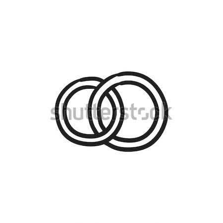 Trauringe Skizze Symbol Vektor isoliert Hand gezeichnet Stock foto © RAStudio