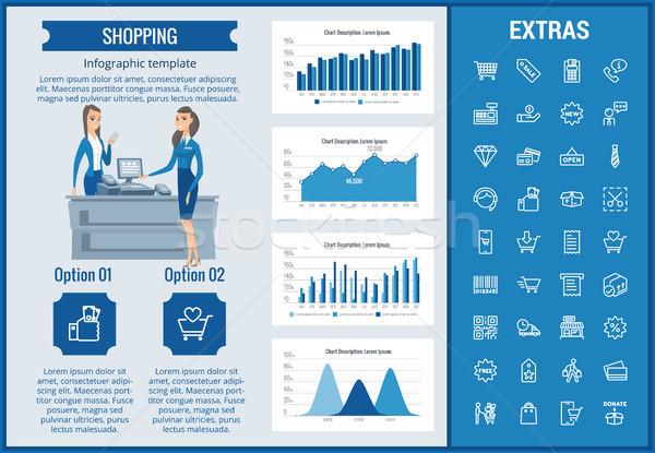 Zdjęcia stock: Zakupy · szablon · elementy · ikona · konfigurowalny
