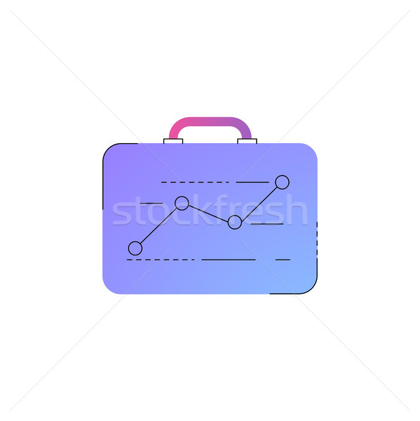 Neon briefcase with ascending graph line icon. Stock photo © RAStudio