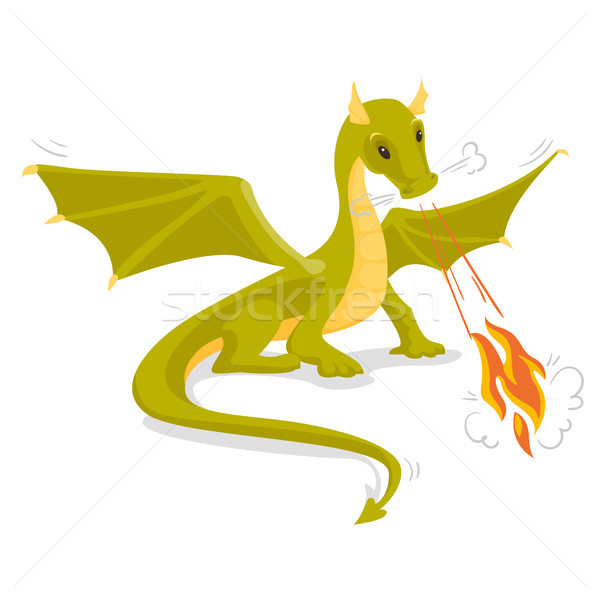 Green magical dragon breathing fire. Stock photo © RAStudio