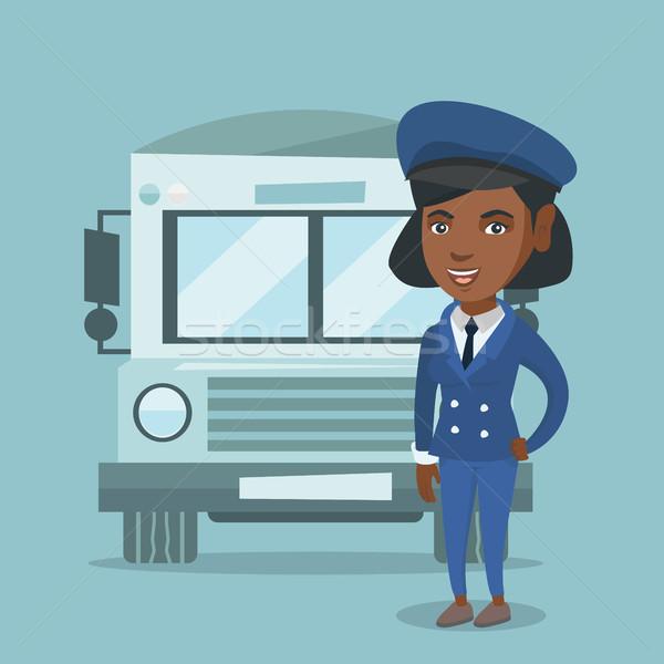 Fiatal női iskolabusz sofőr derűs áll Stock fotó © RAStudio
