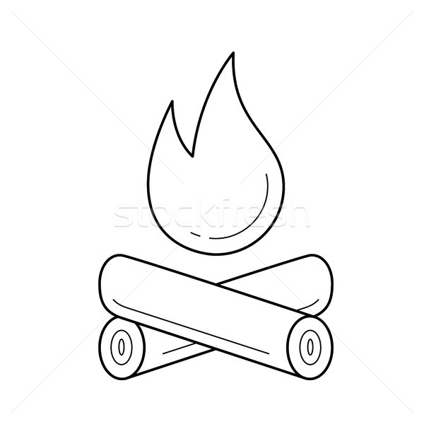 Campfire line icon. Stock photo © RAStudio