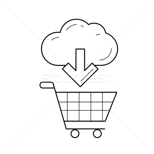 Shopping trolley with online purchase line icon. Stock photo © RAStudio