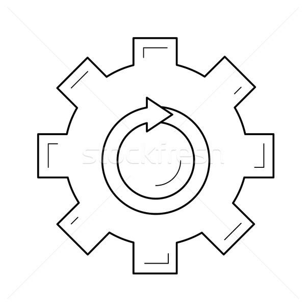 Stock photo: Metal gear vector line icon.