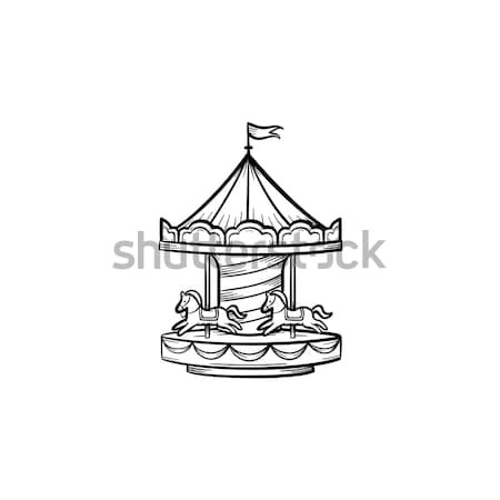 Merry-go-round with horses hand drawn sketch icon. Stock photo © RAStudio