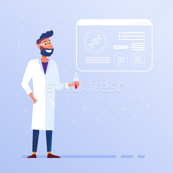 Biotechnológia laboratórium boldog kaukázusi férfi szemüveg Stock fotó © RAStudio