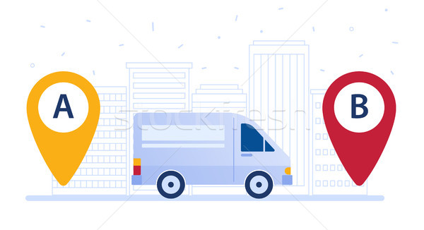 Delivery van shipping cargo according to delivery route. Stock photo © RAStudio