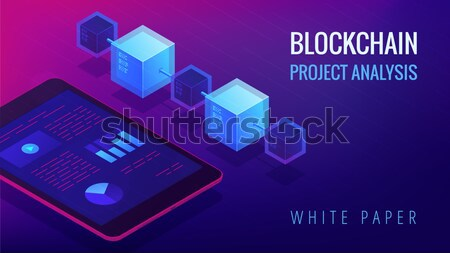 Isometric blockchain white paper and ICO analysis concept. Stock photo © RAStudio