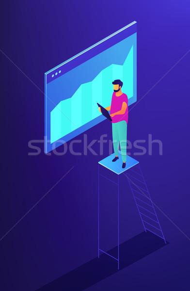 Izometrikus seo adat ellenőrzés illusztráció specialista Stock fotó © RAStudio