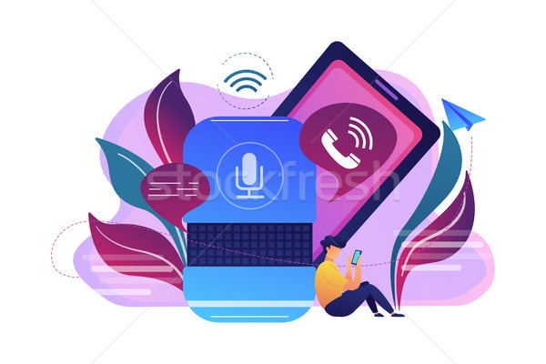Hands-free phone calling concept vector illustration. Stock photo © RAStudio