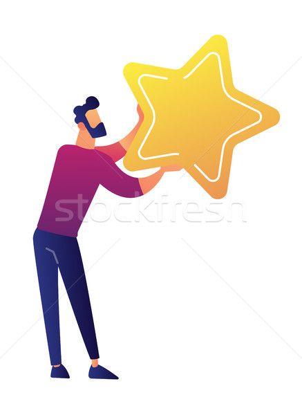 Businessman holding a big golden star vector illustration. Stock photo © RAStudio