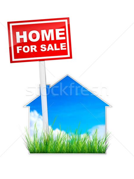 Podpisania sprzedaży nieruchomości domu domu czerwony Zdjęcia stock © RAStudio