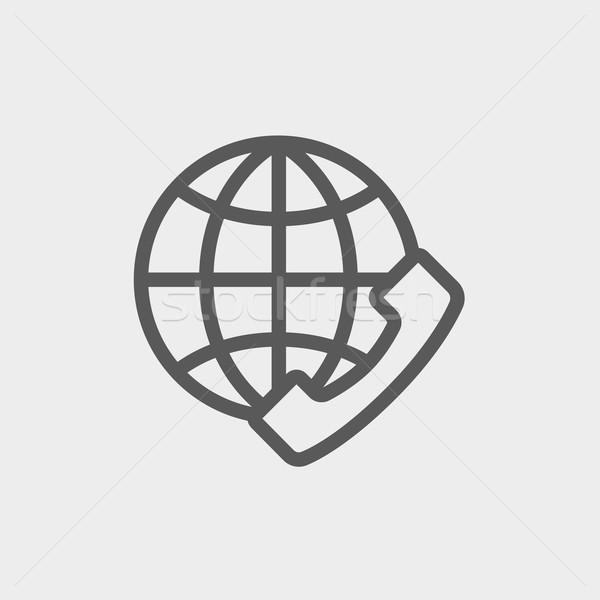 グローバル インターネットショッピング 薄い 行 アイコン ウェブ ストックフォト © RAStudio