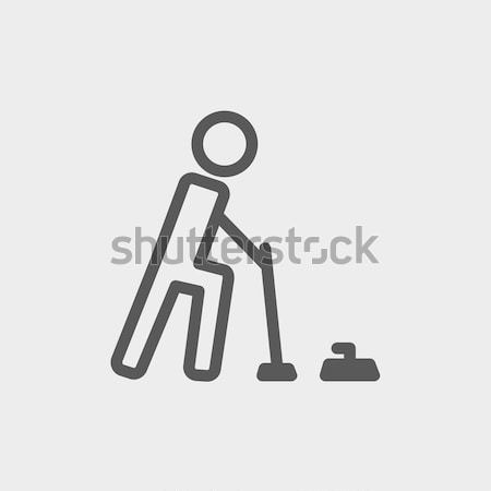 Polo game with mallet thin line icon Stock photo © RAStudio