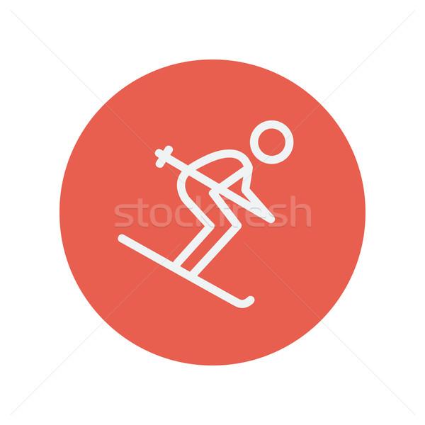 Downhill skiing thin line icon Stock photo © RAStudio