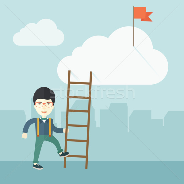 Japanese man with career ladder. Stock photo © RAStudio