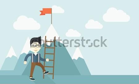 üzletember tart táska kaukázusi mászik felfelé Stock fotó © RAStudio