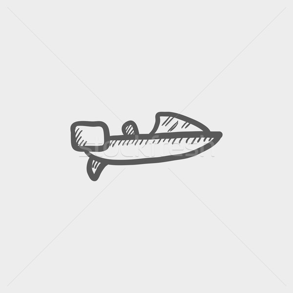 Lancha esboço ícone teia móvel Foto stock © RAStudio
