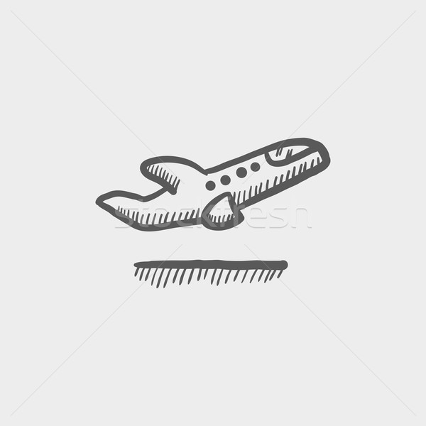 самолет эскиз икона веб мобильных Сток-фото © RAStudio