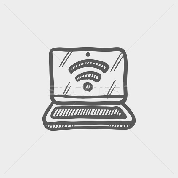 Stock photo: Laptop with internet wifi sketch icon