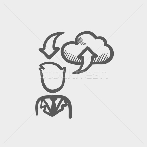 Hombre nube descargar flechas boceto icono Foto stock © RAStudio