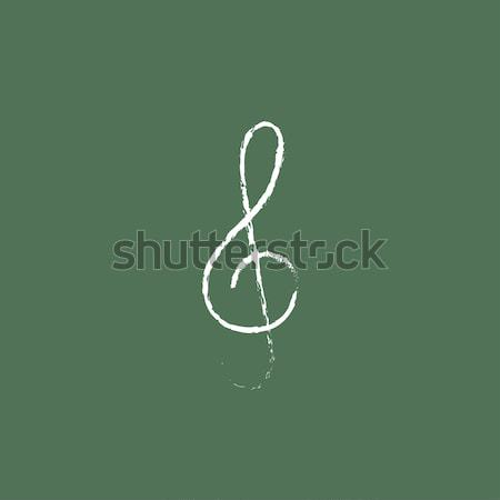 Treble clef icon drawn in chalk. Stock photo © RAStudio