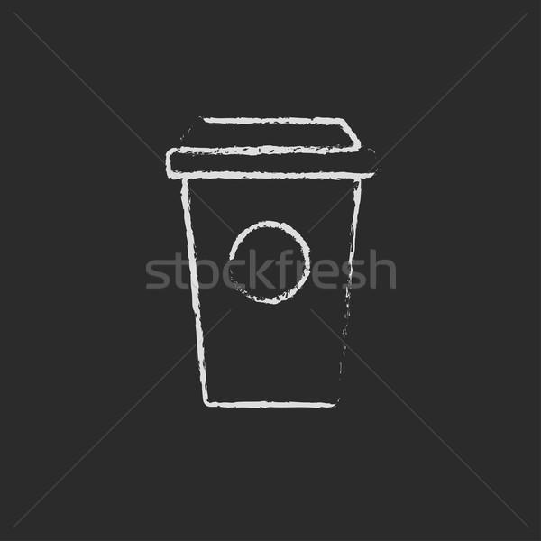 Disposable cup icon drawn in chalk. Stock photo © RAStudio