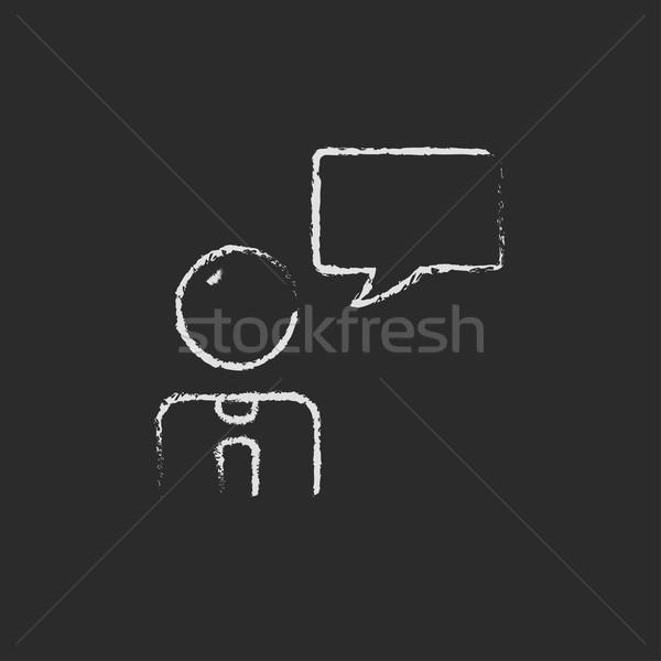 Stok fotoğraf: Müşteri · hizmetleri · ikon · tebeşir · tahta
