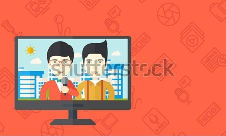 Télévision diffusion nouvelles journaliste homme Photo stock © RAStudio