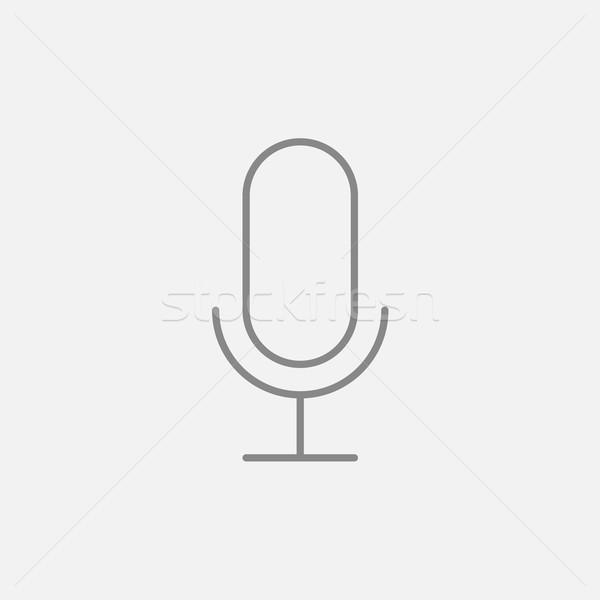 Retro microphone line icon. Stock photo © RAStudio