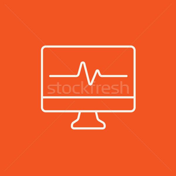 Batimento cardíaco monitor linha ícone teia móvel Foto stock © RAStudio