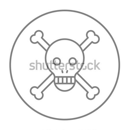 Crâne croix os ligne icône web Photo stock © RAStudio