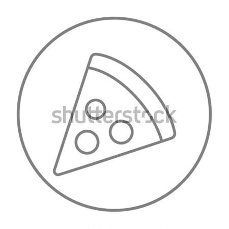 Pizza slice lijn icon web mobiele infographics Stockfoto © RAStudio