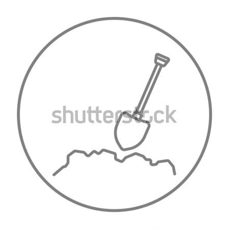 Wydobycie łopata line ikona internetowych komórkowych Zdjęcia stock © RAStudio