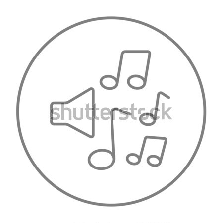 Stock photo: Loudspeakers with music notes line icon.