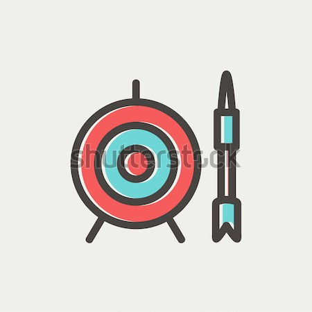 Stock photo: Target board and arrow line icon.