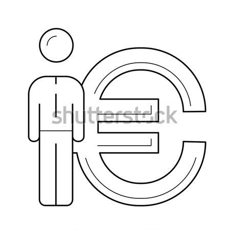 Businessman standing beside the Euro symbol line icon. Stock photo © RAStudio