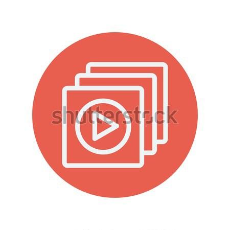 Media speler lijn icon web mobiele Stockfoto © RAStudio