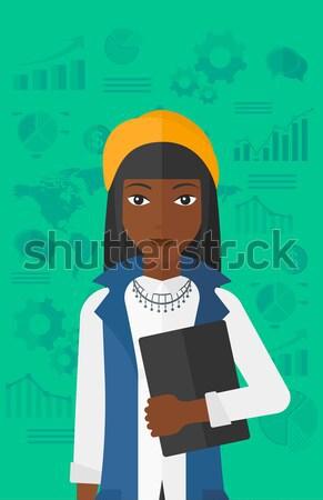 Verslaggever schrijven vector ontwerp illustratie geïsoleerd Stockfoto © RAStudio