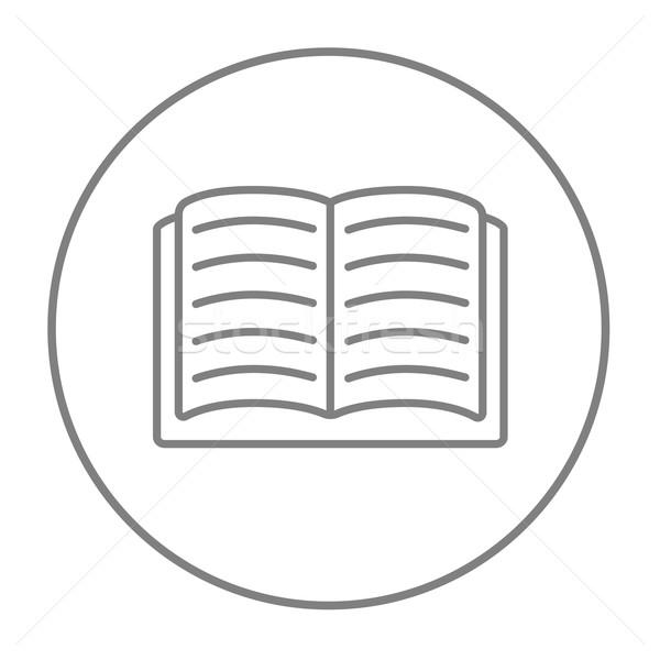 Stockfoto: Open · boek · lijn · icon · web · mobiele · infographics
