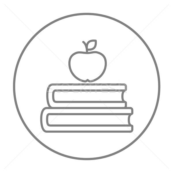 Kitaplar elma üst hat ikon web Stok fotoğraf © RAStudio
