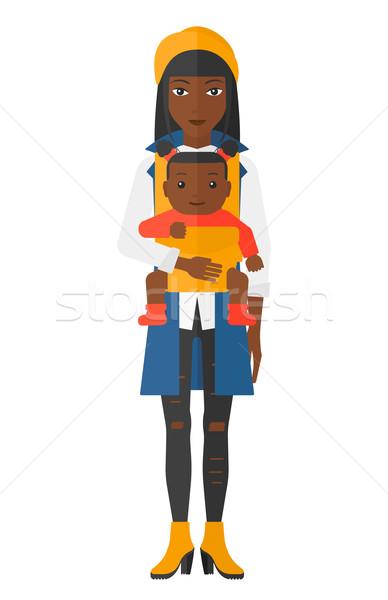 Nő tart baba csúzli vektor terv Stock fotó © RAStudio