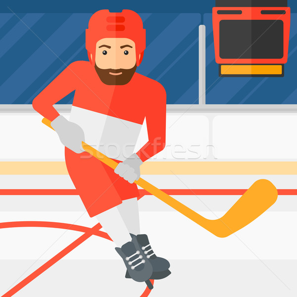 Ice-hockey player with stick. Stock photo © RAStudio