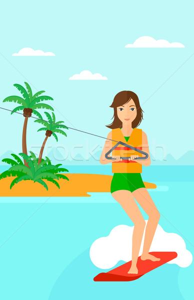Professional wakeboard sportswoman. Stock photo © RAStudio