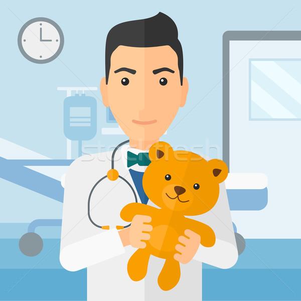 çocuk doktoru oyuncak ayı hastane vektör dizayn Stok fotoğraf © RAStudio