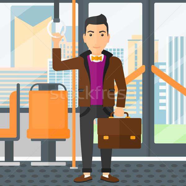 Man permanente binnenkant openbaar vervoer koffer vector Stockfoto © RAStudio