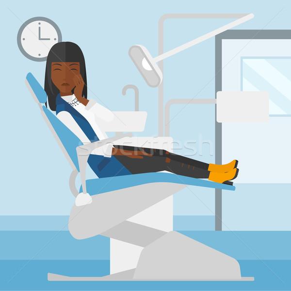 Stock fotó: Nő · szenvedés · fogászati · szék · ül · iroda