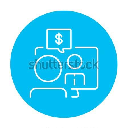 Negócio vídeo negociações linha ícone homem Foto stock © RAStudio